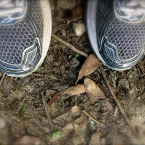 My feet, happily clad in my Brooks running shoes