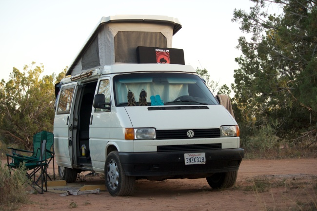White Eurovan camped in the desert near Sedona, AZ