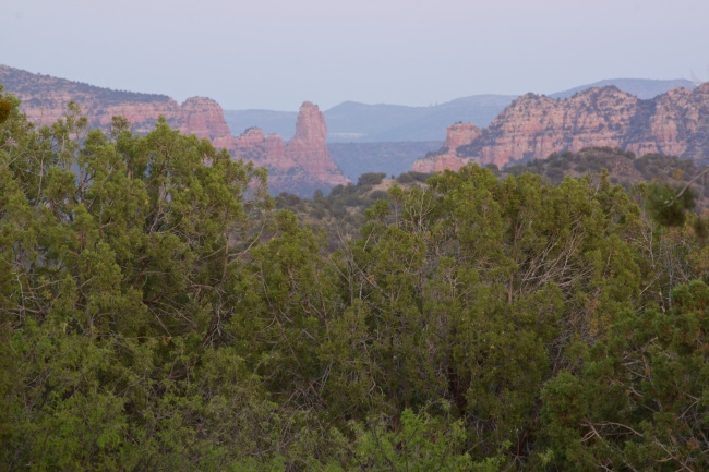 Beautiful jagged slick red rock mountains outside of Sedona, Arizona