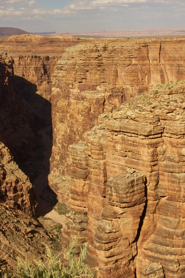 Immerse vertical cliffs down a steep canyon gorge