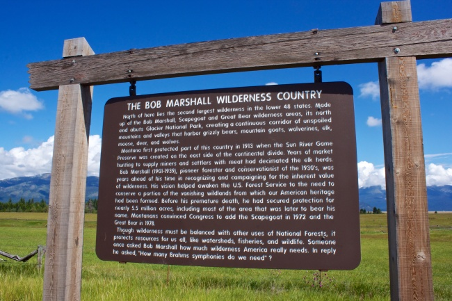 highway signage about the bob marshall wilderness area